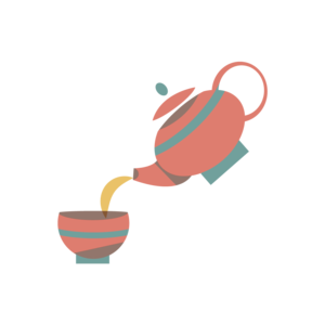 Immagine di teiera che versa tè in una tazzina