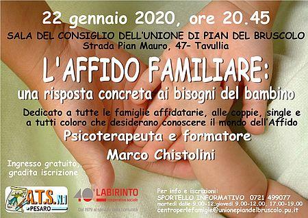 Locandina dell'Evento sull'Affido familiare che si terrà il 22 Gennaio
