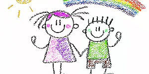 disegno con bambini colorati